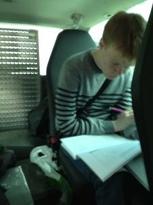 Nikolai og jeg utnyttet kjøretiden og jobbet med endringsforslag til programmet :)