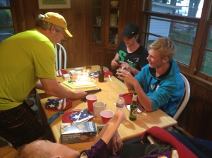 Joar celebrated his 19th birthday while we were at the cabin. Scott had of course baked (read: bought) a cake.