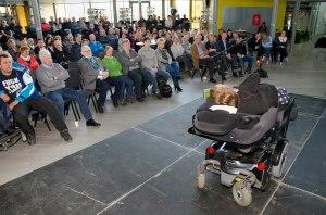 Foredrag for næringslivet og andre interesserte i Fauske. Tema: Mulighetenes samfunn.  Foto: Erik Veigård (Sted: Fauske VGS)